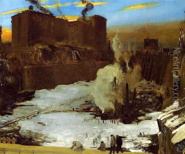 Pennsylvania Station Excavation Oil Painting - George Wesley Bellows