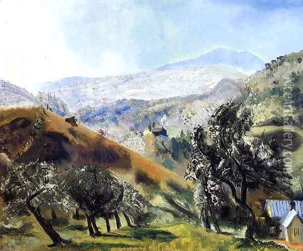 Mountain Orchard Oil Painting - George Wesley Bellows