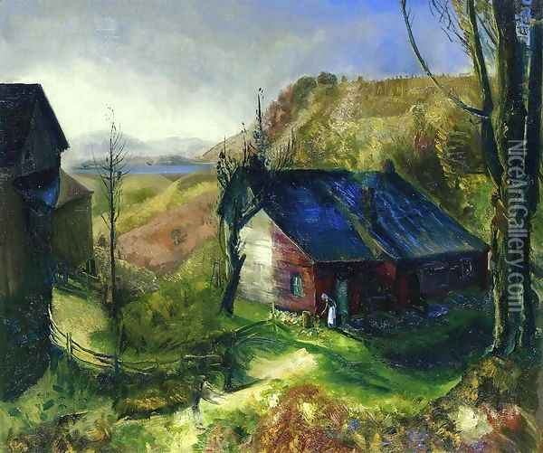 Mountain Farm Oil Painting - George Wesley Bellows