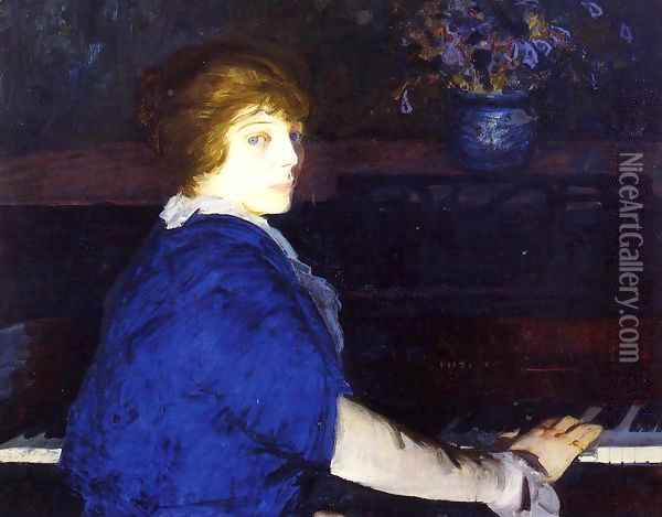 Emma At The Piano Oil Painting - George Wesley Bellows