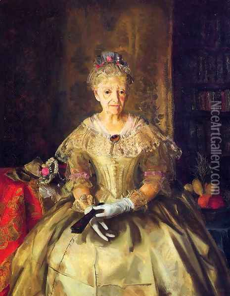 Mrs T In Cream Silk No 1 Oil Painting - George Wesley Bellows