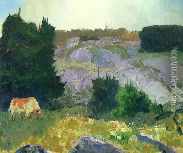 Edge Of The Pasture Glow Of The Sun Oil Painting - George Wesley Bellows