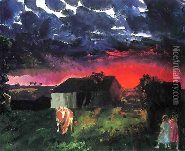 Red Sun Oil Painting - George Wesley Bellows
