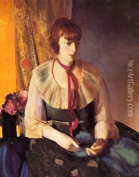 Lady In A Green Dress Oil Painting - George Wesley Bellows
