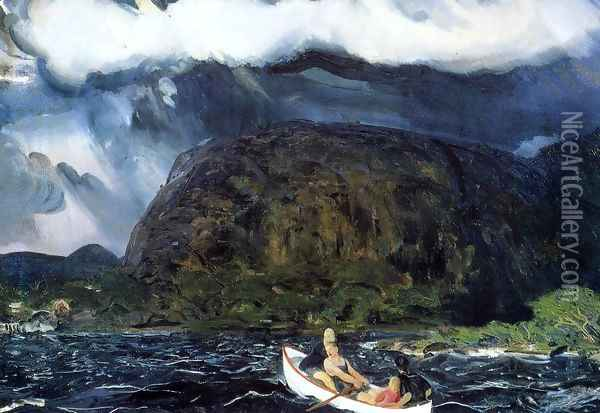 In A Rowboat Oil Painting - George Wesley Bellows