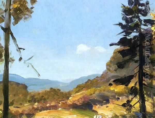 Evening Hills Catskill Mountains Oil Painting - George Wesley Bellows