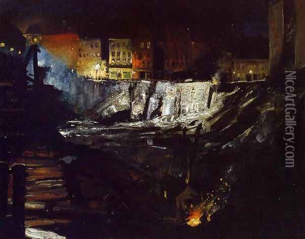 Excavation At Night Oil Painting - George Wesley Bellows