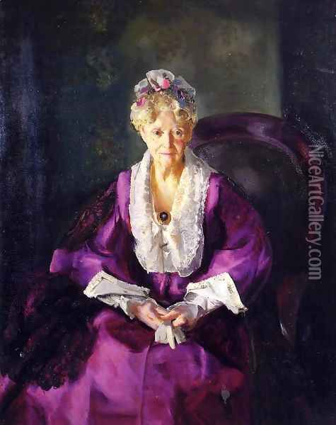 Mrs T In Wine Silk Oil Painting - George Wesley Bellows