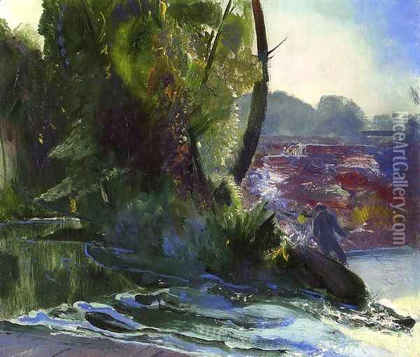 Fisherman And Stream Oil Painting - George Wesley Bellows