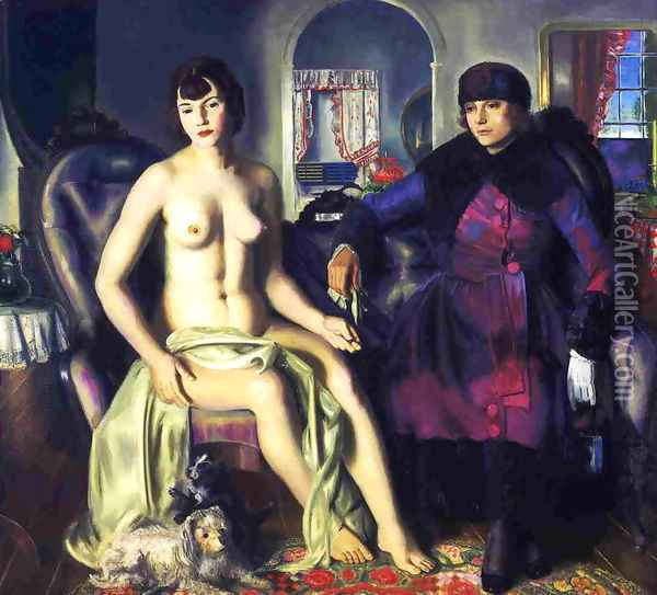 Two Women Aka Sacred And Profane Love Oil Painting - George Wesley Bellows