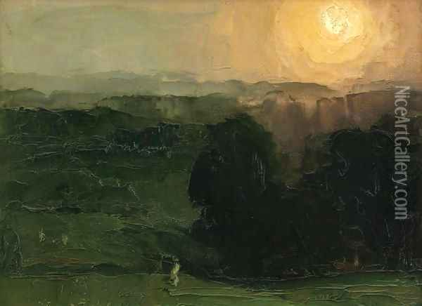 Sunset Jersey Hills Oil Painting - George Wesley Bellows