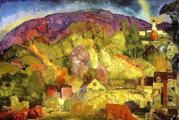 The Village On The Hill Oil Painting - George Wesley Bellows