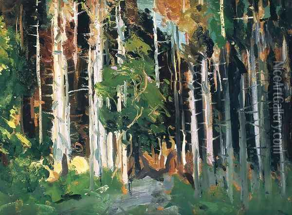 Through The Trees Oil Painting - George Wesley Bellows