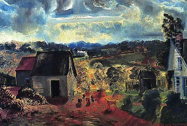 Sunset Shady Valley Aka Boggs Road Oil Painting - George Wesley Bellows