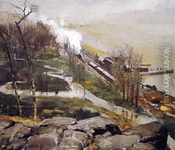 Rain On The River Oil Painting - George Wesley Bellows