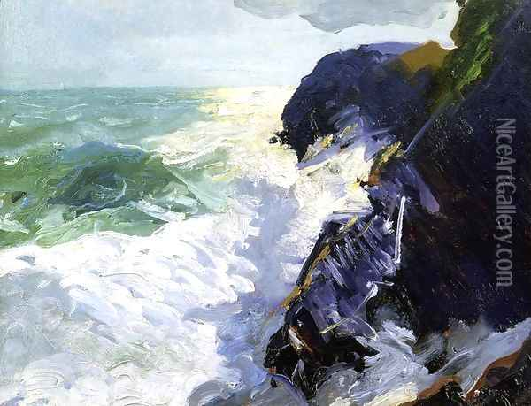 Sun And Spray Oil Painting - George Wesley Bellows