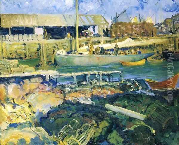 The Fish Wharf Matinicus Island Oil Painting - George Wesley Bellows