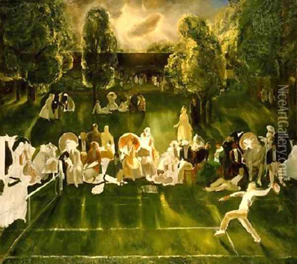 Tennis Tournament Oil Painting - George Wesley Bellows