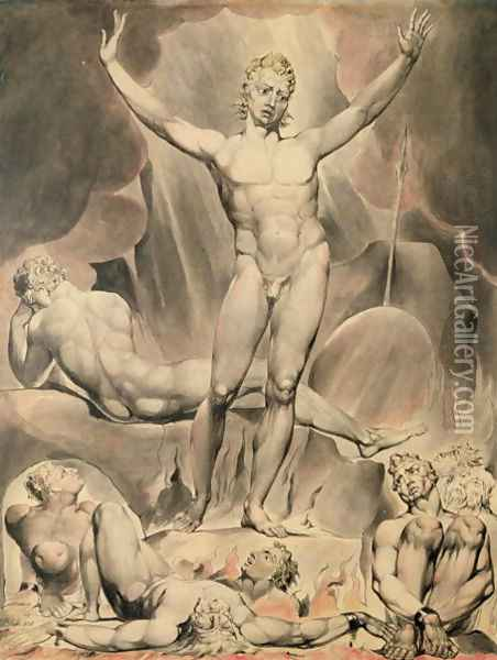 Satan Arousing the Rebel Angels, 1808 Oil Painting - William Blake