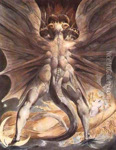 The Great Red Dragon and the Woman Clothed in Sun Oil Painting - William Blake