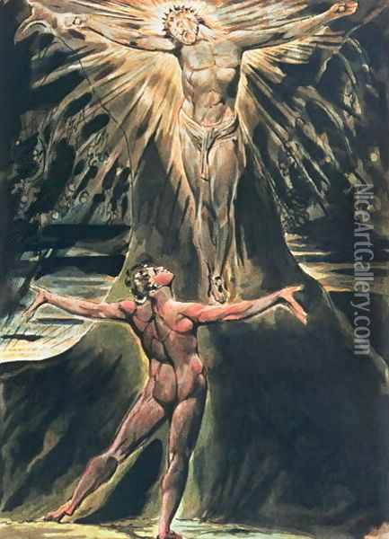 Jerusalem The Emanation of the Giant Albion- plate 76 Albion before Christ crucified on the Tree of Knowledge and Good and Evil, 1804-20 Oil Painting - William Blake