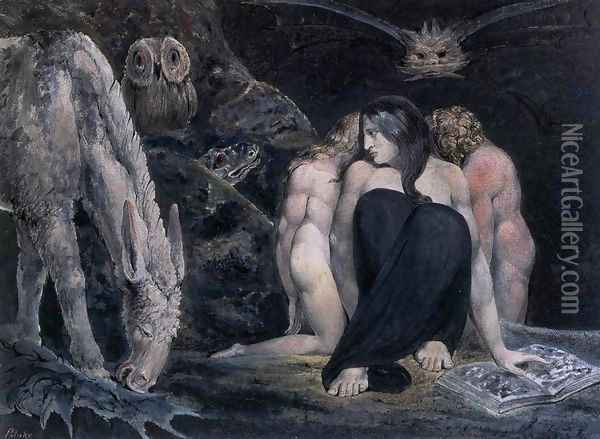 Hecate Or The Three Fates 1795 Oil Painting - William Blake