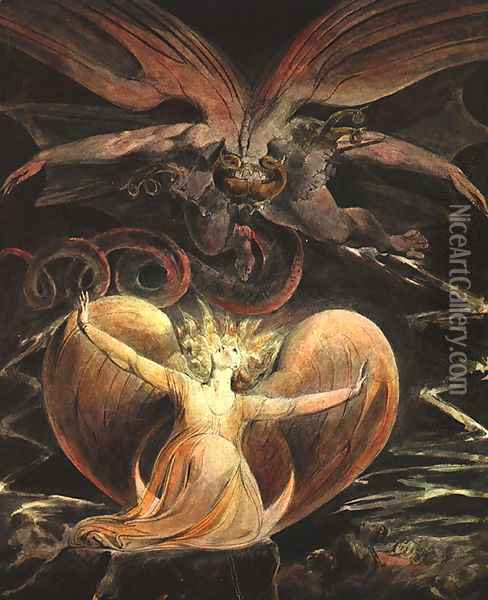 The Great Red Dragon and the Woman Clothed with the Sun 1805-1810 Oil Painting - William Blake