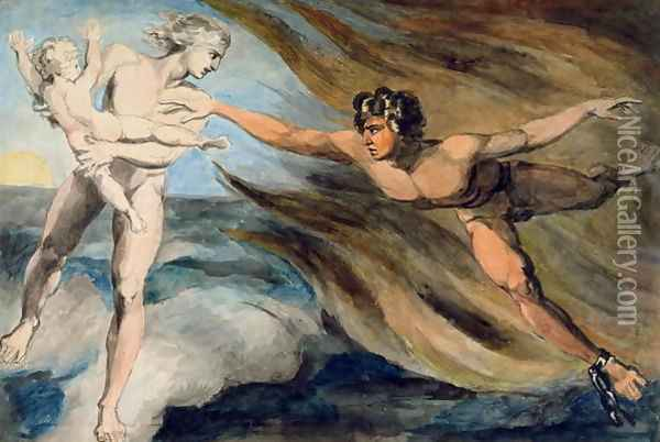 Good and Evil Angels Struggling for the Possession of a Child, c.1793-94 Oil Painting - William Blake