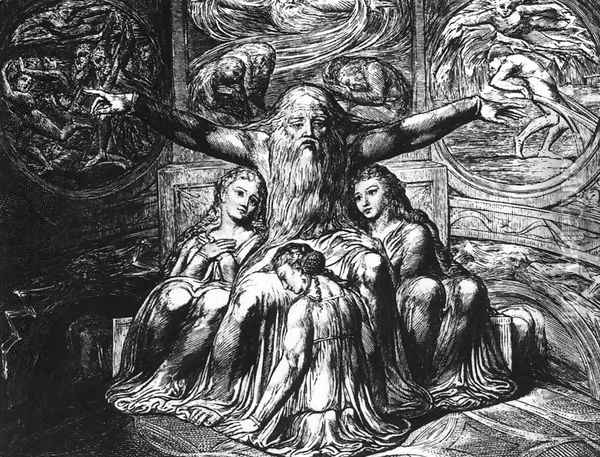 Job And His Daughters 1823-26 Oil Painting - William Blake