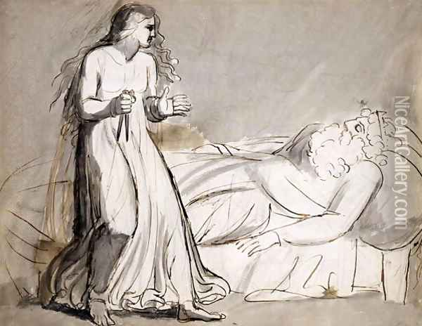Lady Macbeth approaching the murdered Duncan Oil Painting - William Blake