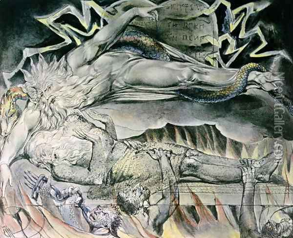 Illustrations of the Book of Job- Job's Evil Dreams, showing Job's God, who has become Satan with cloven hoof and entwined by a serpent 1825 Oil Painting - William Blake