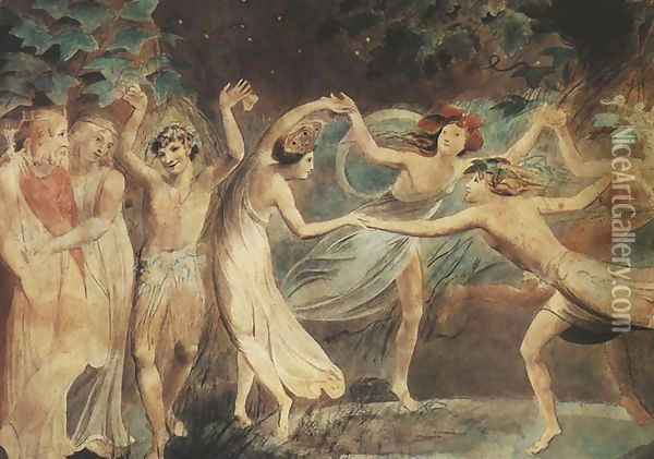 Oberon, Titania and Puck with Fairies Dancing Oil Painting - William Blake