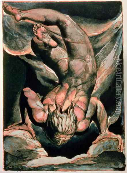 The First Book of Urizen- Man floating upside down, 1794 Oil Painting - William Blake