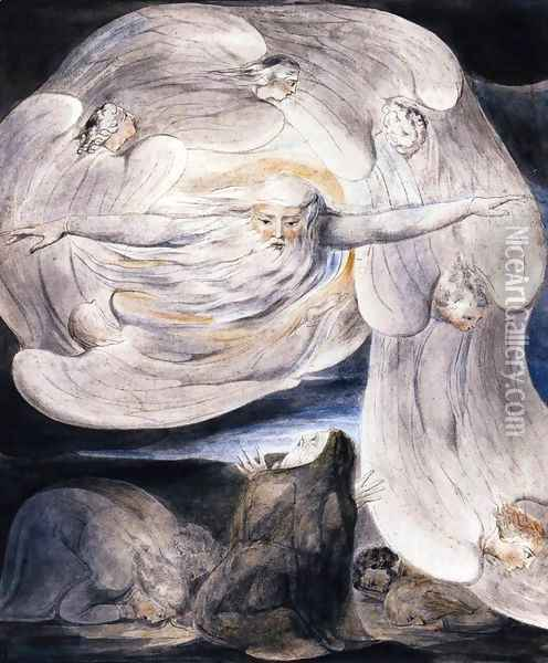 Job Confessing His Presumption To God Who Answers From The Whirlwind 1803-05 Oil Painting - William Blake