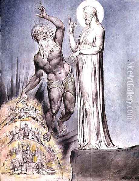 Satan Tempts Christ with the Kingdoms of Earth from Milton's 'Paradise Regained', Book III lines 251-426, c.1816-18 Oil Painting - William Blake