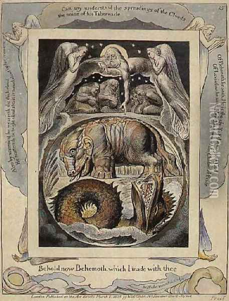 Behemoth and Leviathan from the Book of Job Oil Painting - William Blake