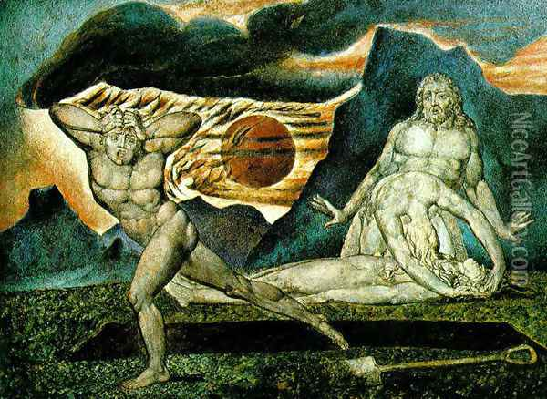 The Body of Abel Found by Adam & Eve 1825 Oil Painting - William Blake