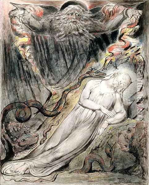 Christ's troubled sleep from Milton's 'Paradise Regained', Book IV lines 401-25, c.1816-18 Oil Painting - William Blake