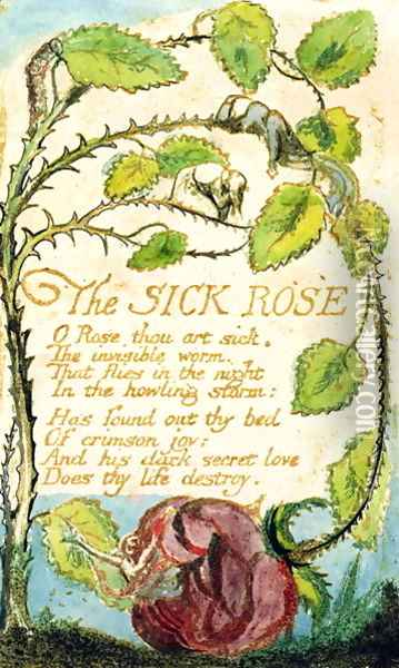 The Sick Rose, from Songs of Innocence Oil Painting - William Blake