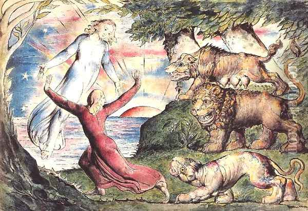 Inferno, Canto I, 1-90 Dante running from three beasts is rescued by Virgil Oil Painting - William Blake