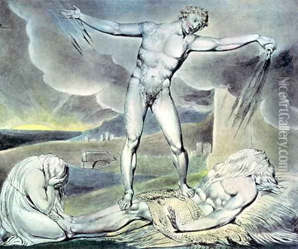 Illustrations of the Book of Job- Satan smiting Job with Sore Boils, 1825 Oil Painting - William Blake