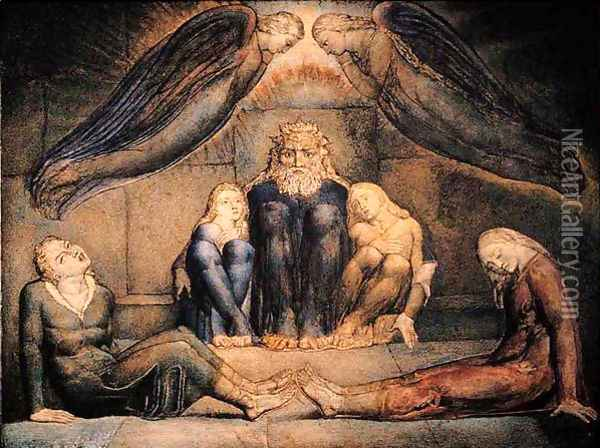 Inferno, Canto XXXIII, 13-93, Count Ugolino and his sons in prison Oil Painting - William Blake