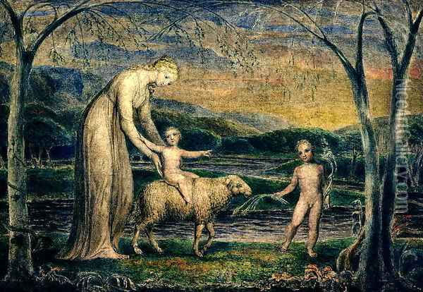 The Christ Child riding on a Lamb Oil Painting - William Blake