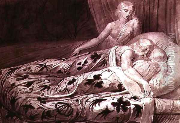 Har and Heva sleeping, with Mnetha looking on, one of twelve illustrations from 'Tiriel', c.1789 Oil Painting - William Blake