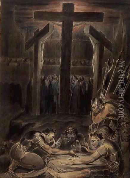 The Soldiers Casting Lots for Christ's Garments, 1800 Oil Painting - William Blake