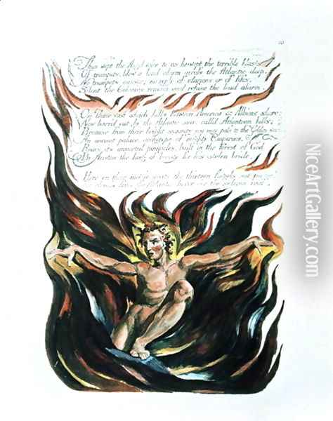 America a Prophecy, 'Thus wept the Angel voice', the emergence of Orc Oil Painting - William Blake