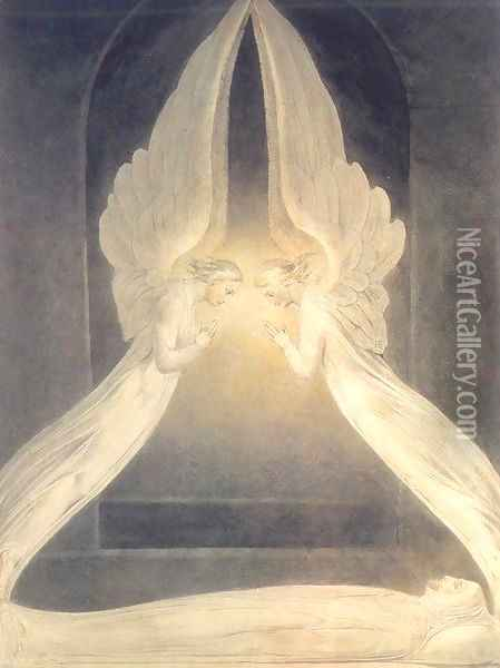 Christ in the Sepulchre, Guarded by Angels Oil Painting - William Blake