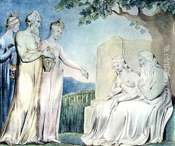 Illustrations of the Book of Job- Job accepting Charity, 1825 Oil Painting - William Blake