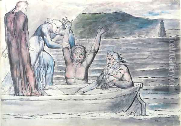 Inferno, Canto VIII, 30-64, Virgil repelling Filippo Argenti from the Boat Oil Painting - William Blake