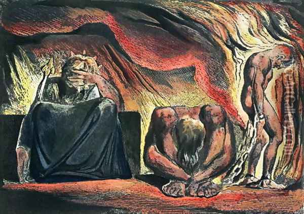 Jerusalem The Emanation of the Giant Albion- plate 51 Vala, Hyle and Skofeld, showing the crowned Vala Oil Painting - William Blake